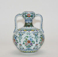 A Finely Painted Chinese Marked Doucai Ruyi Handle Floral Porcelain Vase