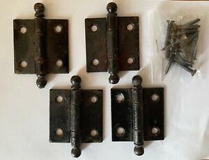 Lot of (2) Antique STANLEY Cabinet Door Butt Hinges w/ Ball Tip & (8) Screws