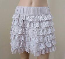 Abercrombie Womens Lace Skirt Size Medium Ruffle Tiered Gray