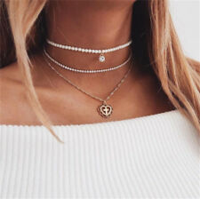 3 Layer Women Boho Gold Chain Rhinestone Pearl Cross Heart Pendants Necklace Hot