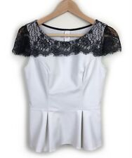 Review Lace Trim Sleeve Top Size 8 Off White Light Grey Short Sleeve Evening