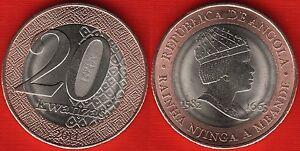 "Angola 20 kwanzas 2014 ""Rainha Njinga"" BiMetallic UNC"