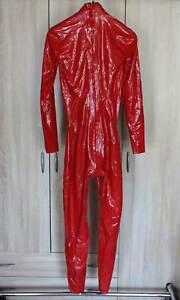 Demask Latex Catsuit Gr. 2 rot für Damen dünnes Latex