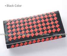 C730 Black Coral Checker Grid Weave Lady Long Wallet Card Holder Coin Bag Purse