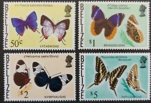 "Belize 1974, ""Butterflys"" 4x stamps (50c.-$5) mnh"
