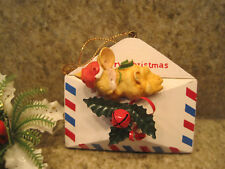 Vintage San Francisco Music Box Company Christmas Ornament Mouse on Envelope Euc