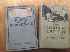 Lot of 2 Vintage Zane Grey Books Riders of the Purple Sage '12, Border Legion 16