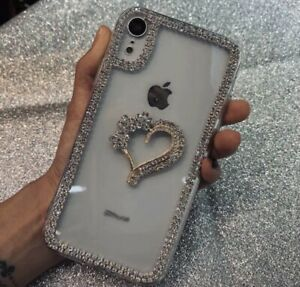 Bling Diamond Effect Clear Case With Heart For IPhone11,11PRO,X/XS-MAX,PROMAX