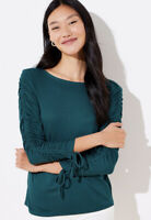 NWT Women's Ann Taylor LOFT L/S Green Cinched Sleeve Top Sz Large