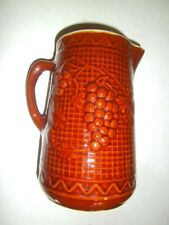 """Antique RED WING  'NORTH STAR' Stoneware Pitcher Grapes and Vines 9-1/8"""""""