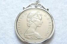 Vintage Silver Canadian Dollar Pendant Commemorating Manitoba 100 Yrs. 1870-1970