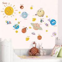Wall Sticker Cartoon Solar System Kids Room Decor Decal Space Planets Earth Sun