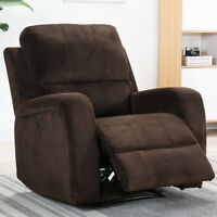 Oversize Electric Power Recliner Chair Air Suede Thick Padded Sofa W/ USB Port