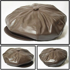 NEW GENUINE LEATHER 8 PANEL BIG APPLEJACK NEWSBOY DRIVING HAT MADE IN USA BROWN