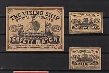 Ancienne   étiquette   allumettes Suède  AZ790  Drakar Bateau