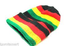 Men Women Knit Ski Cap Hip-Hop Jamaican Rasta Stripe Winter Warm Head Hat