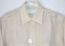 Inserch Collezione Uomo Italy Oatmeal Linen Shirt Long Sleeves Men's Medium NWT