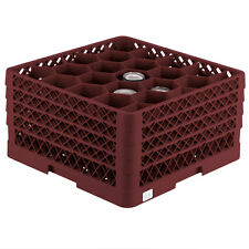 Commercial Dishwasher Glass Rack Max Full-Size Burgundy 20-Compartment