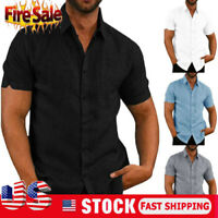 Summer Fashion Men's Casual Dress Slim Fit Shirt Short Sleeve Shirts Tops Tee