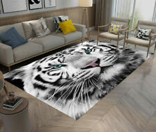 White Tiger Head Rug For Living Room Anti-skid Area Rug Home Soft Yoga Carpet