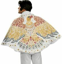White Gold Star Elvis Eagle Cape Licensed Costume Adult Men Rock and Roll Aloha