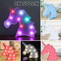 Unicorn Head LED Lamp Light Animal Night Kid Child Bedroom Decoration Gift UK