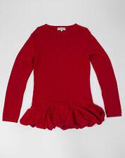 🔥 IVAN GRUNDAHL 🔥 Merino Wool Red Ruffle Sweater Jumper, SIZE L