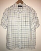 Men's White/Green Check Linen Shirt Size M M&S<NH7865z