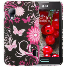 HardCase Hülle für LG E455 Optimus L5 II Dual Blumen Schmetterlinge pink schwarz