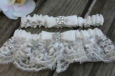 Beautiful Ivory Rhinestones Wedding Garter Set, Ivory Bridal Lace and Satin Set