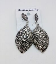 Womens Burnished Silver Crystal Dangly Long Earrings
