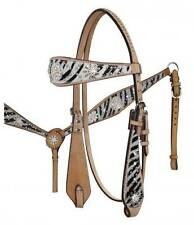 WHITE Zebra Print Headstall Breast Collar Set with Sparkling Rhinestone Conchos!