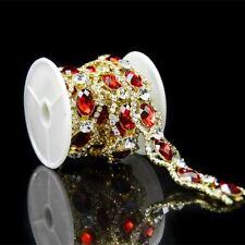 Red Crystal Clear Rhinestone Trims Gold Tone Applique Bridal Dress Costume Chain