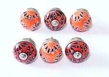 Schrankknöpfe / Möbelknöpfe ,Orange,Rot  Muster gemischt  6 Stück im Set, 4 cm Ø