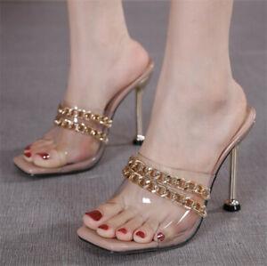 Women Stiletto Slipper Clear High Heels Summer Open Toe Pumps Sandals Shoe Party