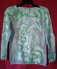 Nancy Bolen City Girl Long Sleeve Sweater Pull Over White Green Black Small