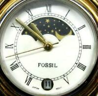 Fossil World Dial Day Night Brown Leather Band Date Watch Analog Quartz New Batt
