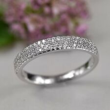 1.5CT Round Cut Diamond Half Eternity Engagement Wedding Band 14K White Gold Fn