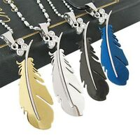 Pendant Womens Titanium Men's Chain Necklace Stainless Steel Feather Wings