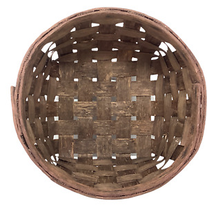 "Round Basket Handmade Split Oak with Square Base Short 9-1/2"" x 4-1/2"""