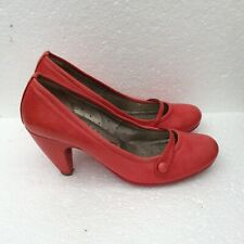 Fornarina Women's Red Leather Court Slip On Shoes Pumps 38/UK5/US