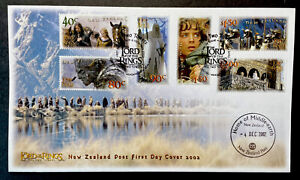 NEW ZEALAND LORD OF THE RINGS TWO TOWERS FDC STAMPS 2002 MIDDLE EARTH POSTMARK 1