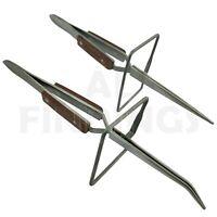 Bent Straight Soldering Tweezer Stand Fibre Pads Hands Free Watch Jewellery tool
