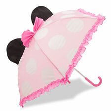Disney Store Deluxe Pink Minnie Mouse Umbrella for Girls Ears Polka Dots Rain