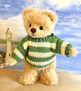 ++TEDDY CLOTHES++  new hand knitted striped jumper to suit a 9 inch bear
