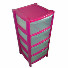 4 DRAWER PINK TOWER UNIT !! PLASTIC STORAGE DRAWERS !! STORAGE ORGANIZER !!