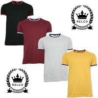 Relco Mens Classic Ringer 70s Style T-Shirt Vintage Retro Northern Soul Mod