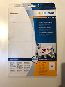 HERMA 4348 Removable Labels A4 96x42,3 mm White No Residue Paper Matt