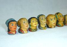 Colección personajes más grandilocuente/cabezas para 1940 tallado castañas firmado