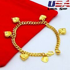Vogue 24K Gold Filled Charming Jewelry Love Heart Pendant Chain Bracelet Gifts
